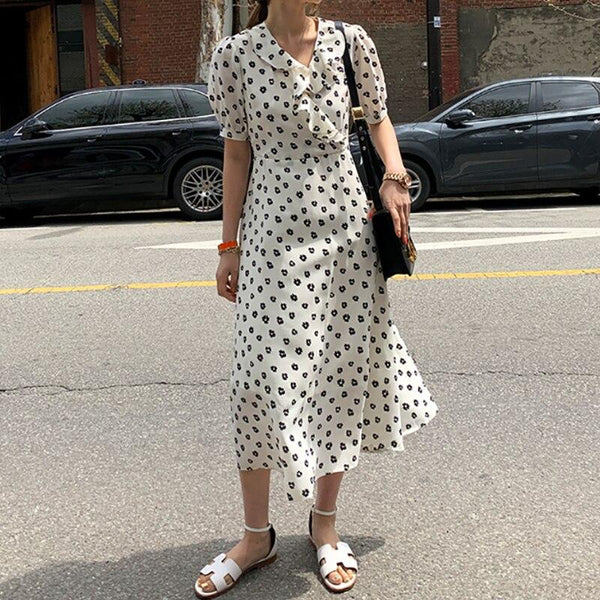 Ruffles V Neck Short Sleeve Floral Print Boho Dress dress
