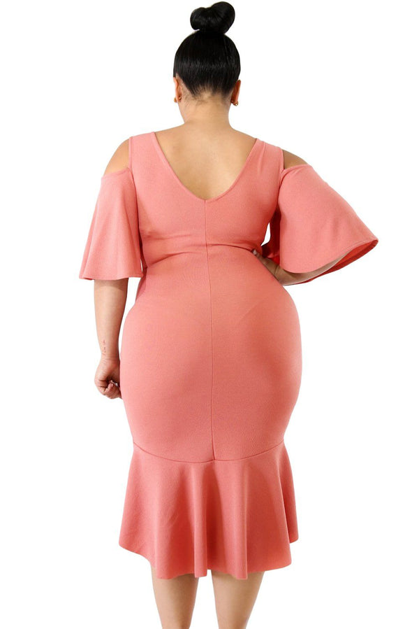 Salmon Flutter Sleeve Cold Shoulder Plus Size Dress dress