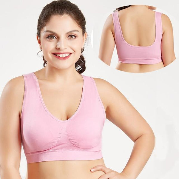 Seamless Push Up Wire Free Mesh Breathable Comfortable Sport Bra Bras 138-pink L
