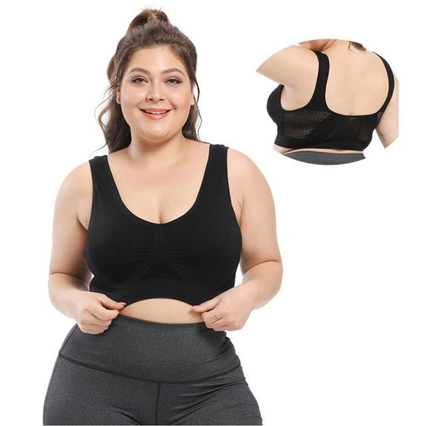 Seamless Push Up Wire Free Mesh Breathable Comfortable Sport Bra Bras 5325-black 6XL