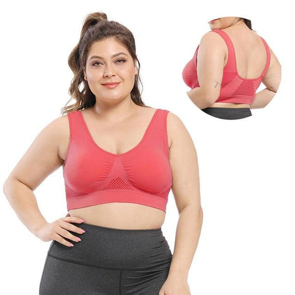 Seamless Push Up Wire Free Mesh Breathable Comfortable Sport Bra Bras 5325-red 4XL
