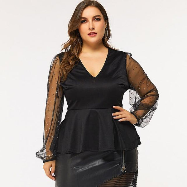See Through Long Sleeve Elegant Blouse blouse Black XXXL