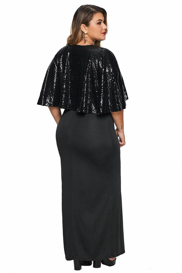 Sequin Cape Plus Size Maxi Dress dress