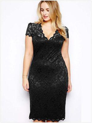 Sexy Lace Elegant V-Neck Dress dress Black 4XL