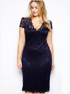 Sexy Lace Elegant V-Neck Dress dress Purple 4XL