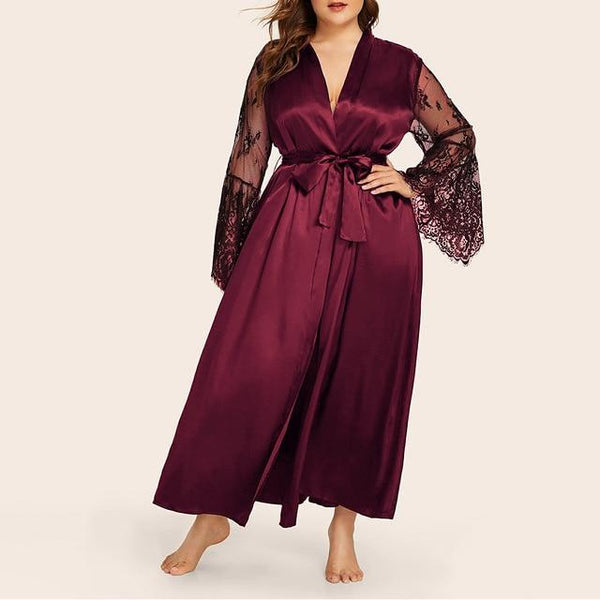 Sexy Long Sleeve Lace Robe & Sleepwear Lingerie Wine Red China L