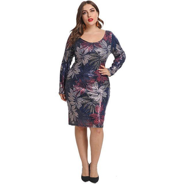 Sexy Party Short Floral Dress dress Blue 3XL