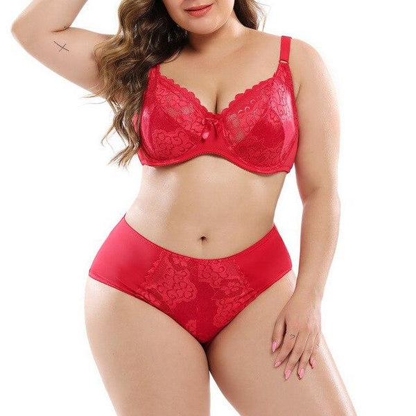 Sexy Red Lace Bra & Panty Set underwear Red F 48