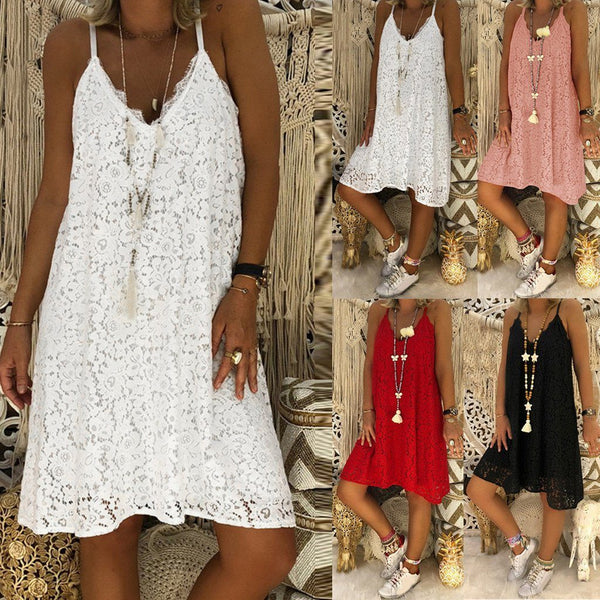 Sexy Spaghetti Strap Lace Loose Sun Dresses dress