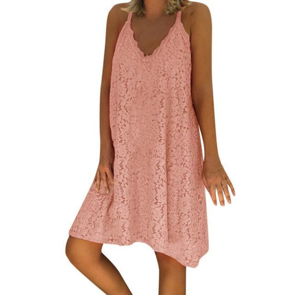 Sexy Spaghetti Strap Lace Loose Sun Dresses dress Pink 5XL