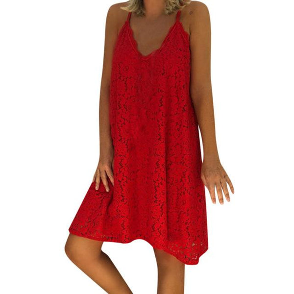 Sexy Spaghetti Strap Lace Loose Sun Dresses dress Red 5XL
