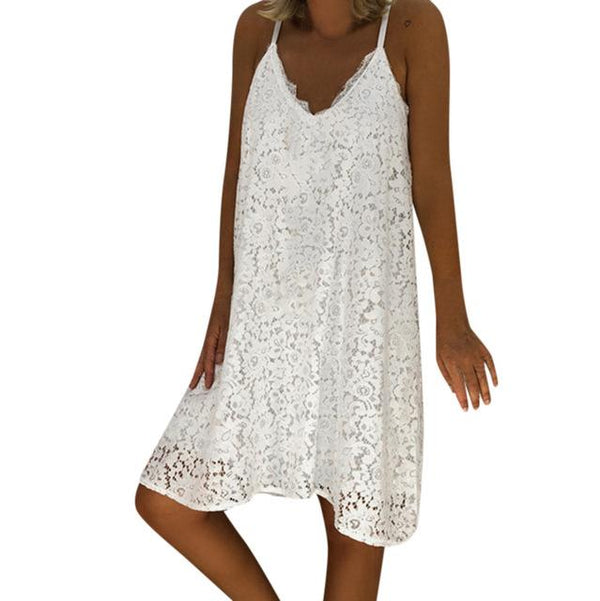 Sexy Spaghetti Strap Lace Loose Sun Dresses dress White 5XL