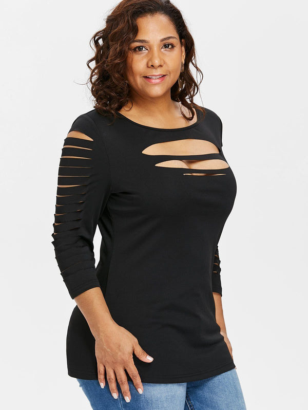 Sexy Tight Front Cut Ripped T Shirt t-shirt