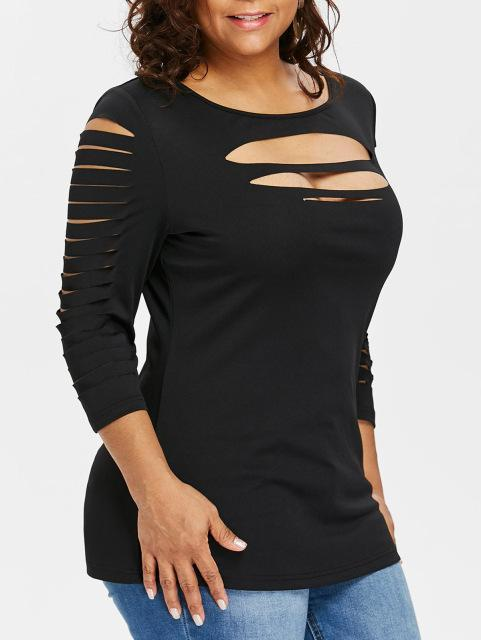 Sexy Tight Front Cut Ripped T Shirt t-shirt Black L