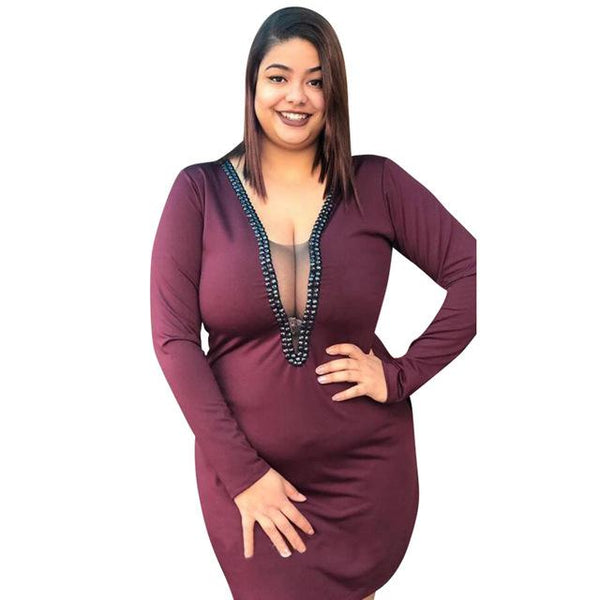 Sexy V- Neck Fashion Dress dress Wine Red XXL