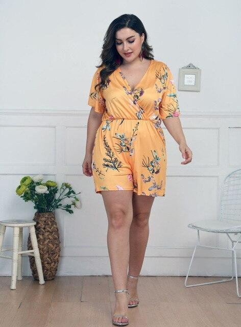 Short Sexy Playsuit Rompers Rompers Yellow 4XL
