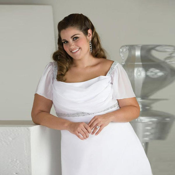 Short Sleeve Chiffon Beach Bridal Gown wedding dress