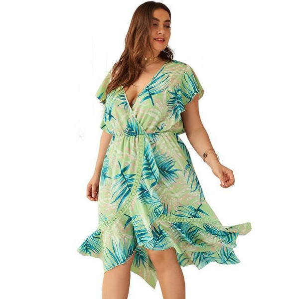 Short Sleeve Leaves Print Boho Dress dress green XL
