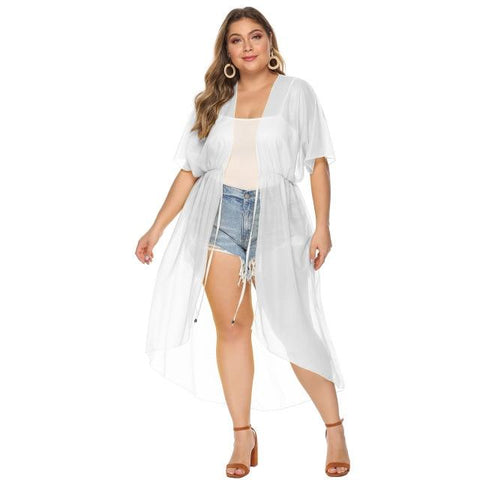 Short Sleeve Long Loose Casual Coat Coats White 7XL