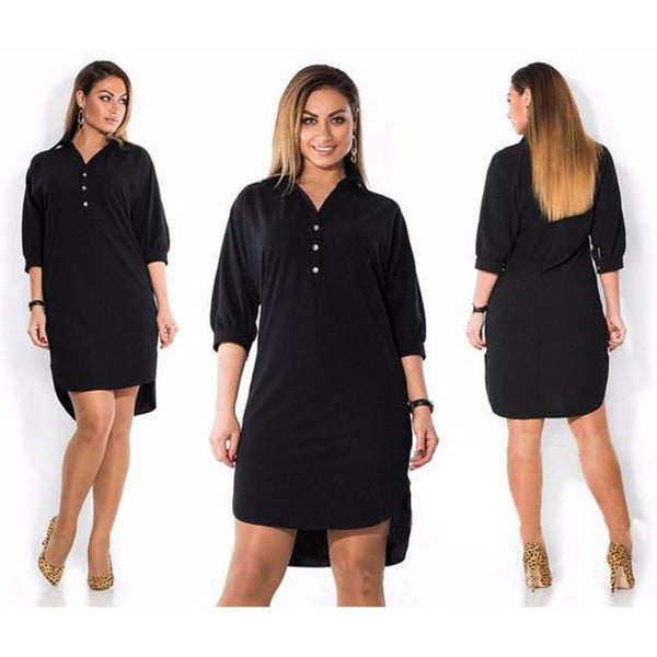 Short Sleeve Long Loose Dress dress Black XL