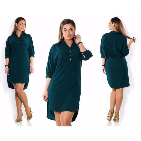 Short Sleeve Long Loose Dress dress Green XL