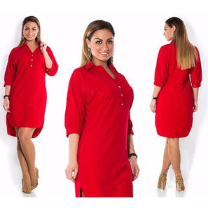 Short Sleeve Long Loose Dress dress Red XL