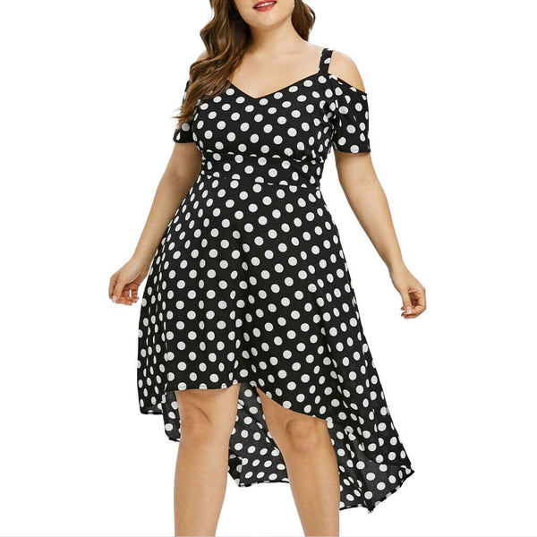 Short Sleeve Off Shoulder Polka Dot Dress dress