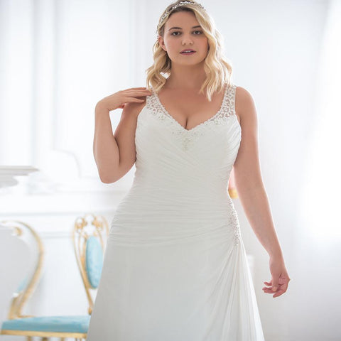 Short Sleeve V-Neck Chiffon Wedding Dress wedding