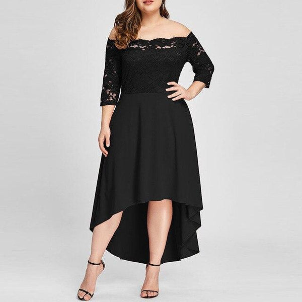 Slash Neck Off Shoulder Sexy Dress dress Black XL