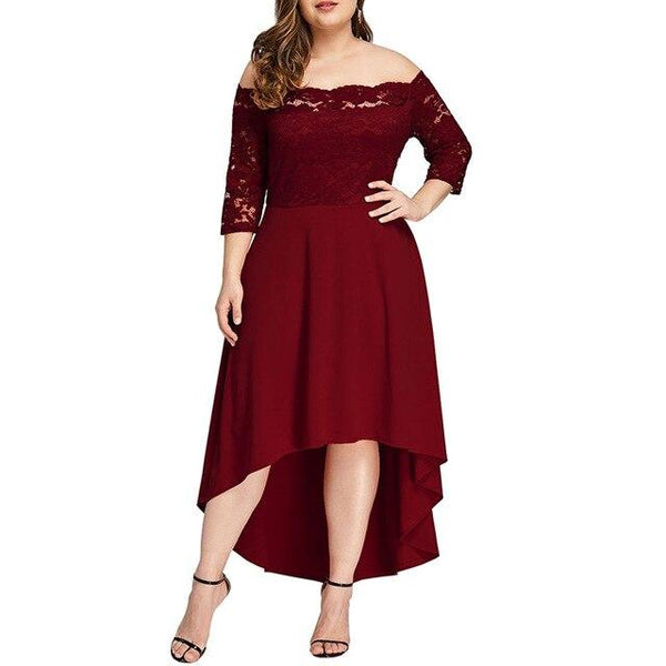 Slash Neck Off Shoulder Sexy Dress dress Burgundy XL