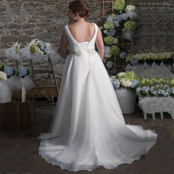 Sleeveless Pearl Beaded Organza Backless Bridal Gown Wedding Dress wedding dress