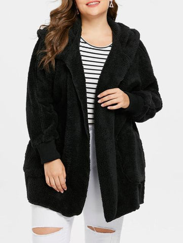 Soft Faux Fur Casual Loose Coat Coats Black L