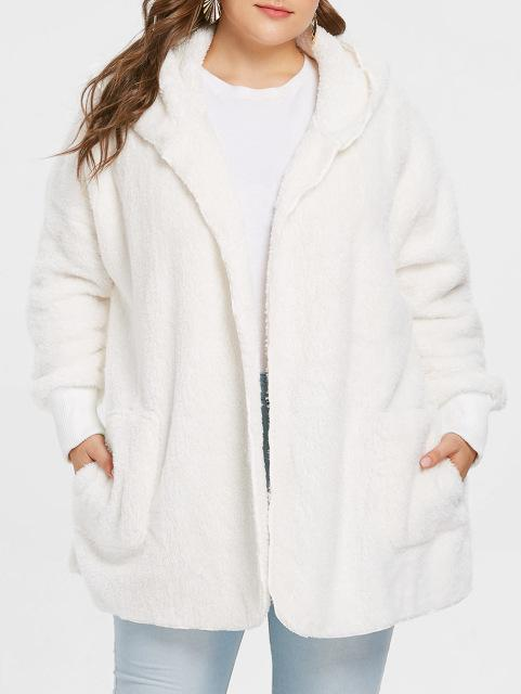 Soft Faux Fur Casual Loose Coat Coats White L