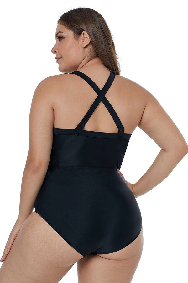 Solid Black Crisscross Plunge V Neck Plus Maillot Swimwear Swimwear