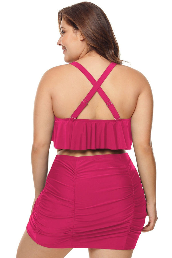 Strappy Ruffle Plus Size Two Piece Swimwear Swimwear