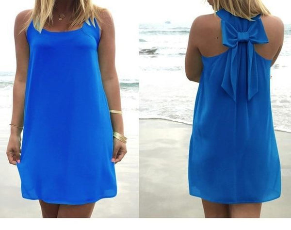 Summer Casual Lace Chiffon Beach Dress dress Dark blue S