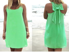 Summer Casual Lace Chiffon Beach Dress dress Dark green S