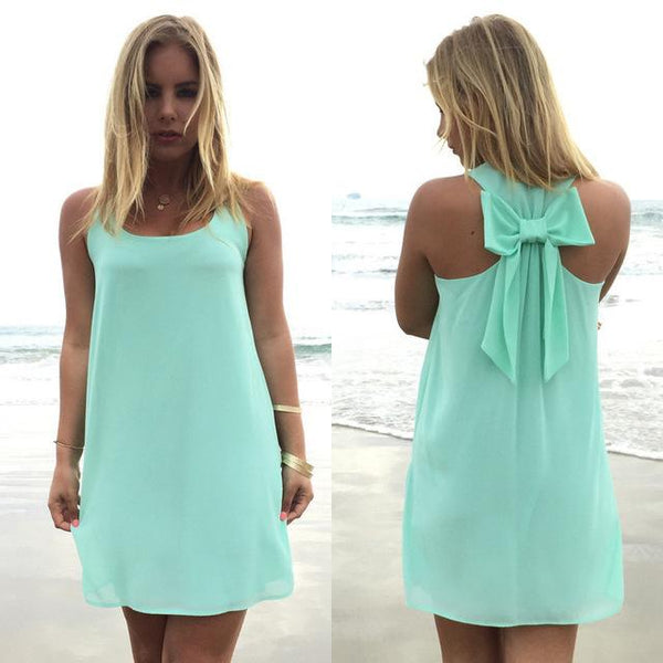Summer Casual Lace Chiffon Beach Dress dress Light green S
