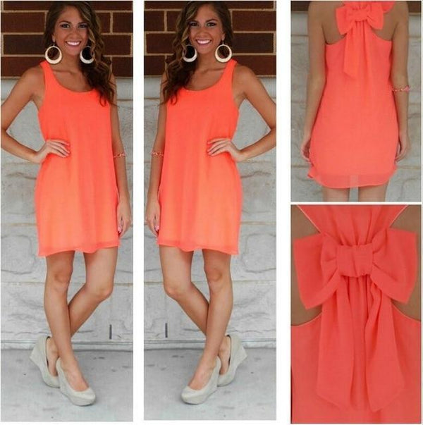 Summer Casual Lace Chiffon Beach Dress dress Orange S