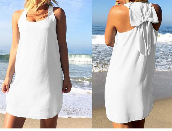 Summer Casual Lace Chiffon Beach Dress dress White S