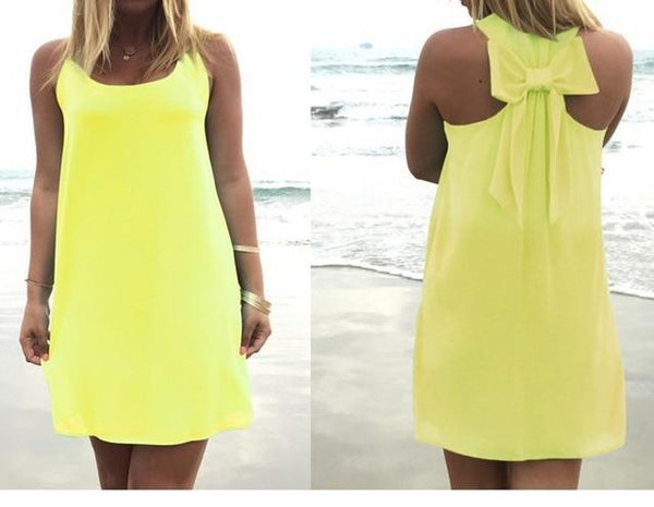 Summer Casual Lace Chiffon Beach Dress dress Yellow S