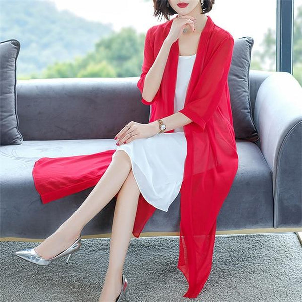 Summer Chiffon Casual Shirt shirt Red M
