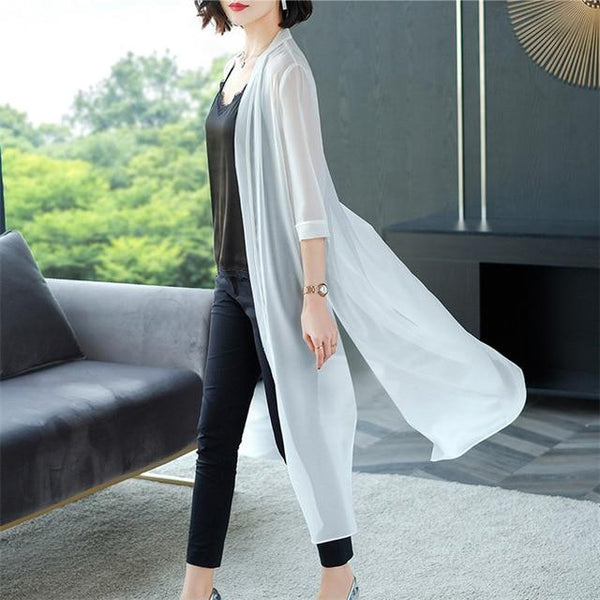 Summer Chiffon Casual Shirt shirt White XL