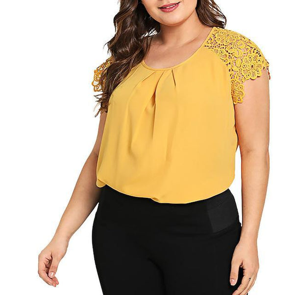 Summer Fashion Floral Lace Blouse blouse Yellow XL