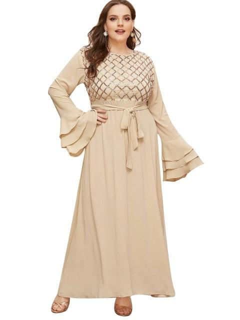 Summer Flare Long Sleeve Party Dress dress Beige XL