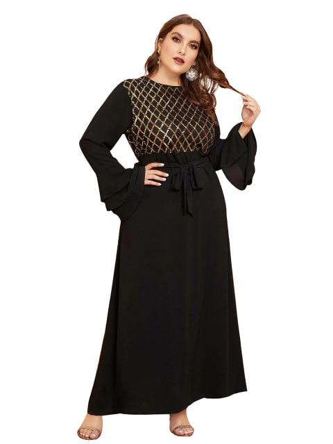 Summer Flare Long Sleeve Party Dress dress Black XXXL