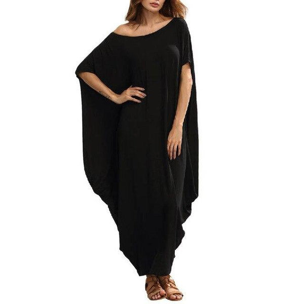Summer Long Ankle Length Dress dress Black 7XL