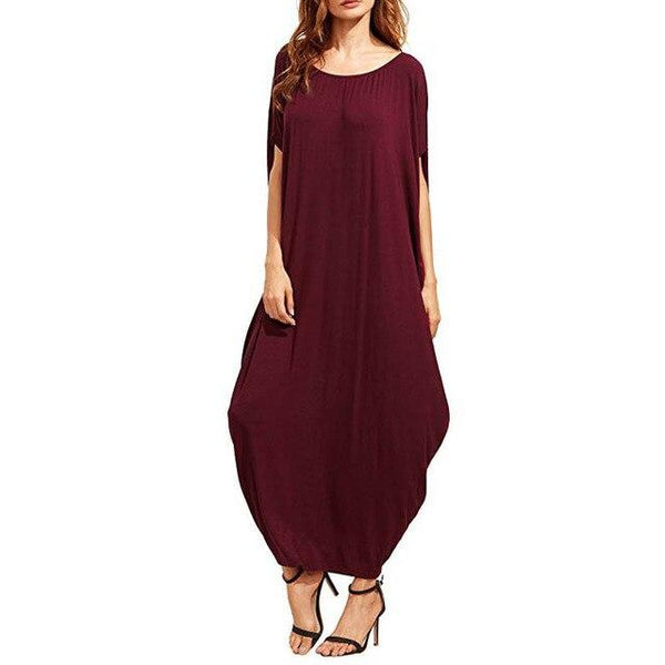 Summer Long Ankle Length Dress dress Burgundy XXXL