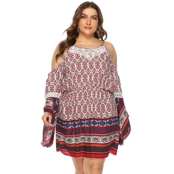 Summer Long Sleeve Retro Boho Beach Dress dress Red XXXL