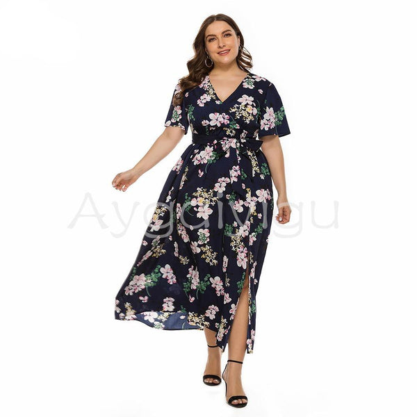 Summer Maxi Dress Short Sleeve Side Split Floral with Sashes dress